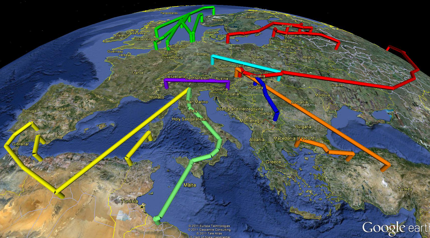 Major Pipelines Importing Natural Gas Into The European ...