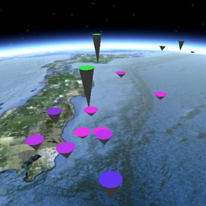 Google Earth (TM) display of earthquakes worldwide, Nov 2011