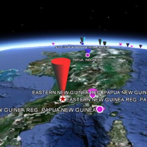 Google Earth (TM) display of earthquakes worldwide, Dec 2011