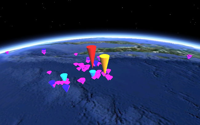 Google Earth (TM) display of earthquakes, April 2012