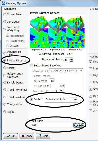 RockWorks Gridding Options - Faulting settings