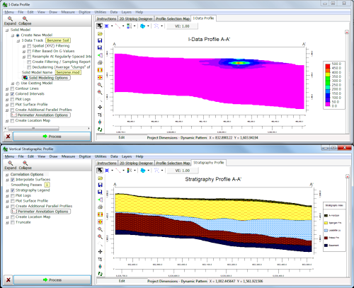 RockWorks I-Data Profile and Stratigraphy Profile Diagrams