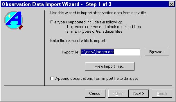 Aqtesolv Import Wizard