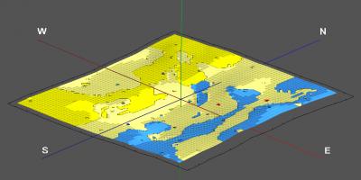 RockWorks Lithology Surface Map displayed in 3D