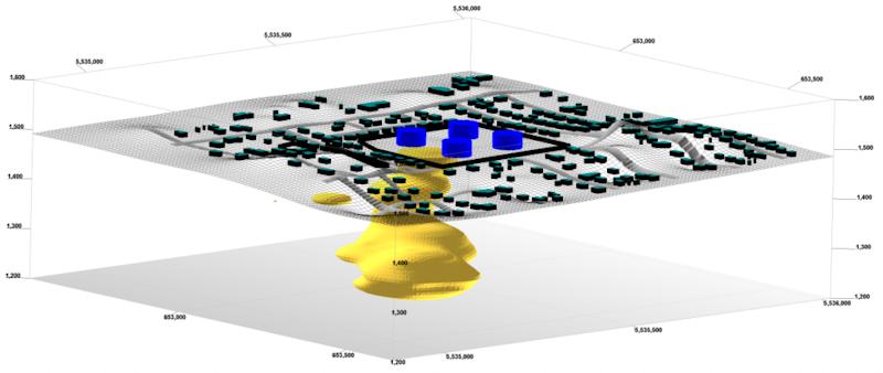 RockWorks 3D Plume Model with Infrastructure